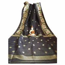 Zari Party Wear Ladies Pure Linen Saree, 6 m (with blouse piece)