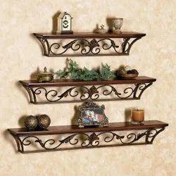 Standard Brown Wooden Wall Shelf, For Home Decor