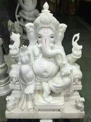 Ganesh Ji White Marble Statue