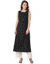 Women Black Polka Dots A Line Cotton Kurta