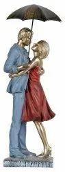 Vaishnavi Marble Handicraft Polyresin Love Couple With Metal Umbrella Decor (12 X 9 X 40 Cm, Multico