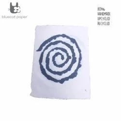 Hand design Gift wrapping paper - white with blue spiral