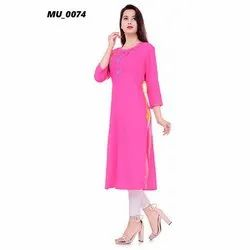 Pink Plain Ladies Kurti