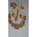 Colored Flower Design Necklace Set