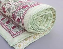 Cotton Green Floral Block Print Jaipuri Quilt