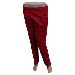 Red Straight Cigarette Pant