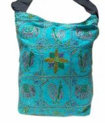 Blue Cotton Jaipuri Ari Zari Embroidery Work Shoulder Bag 177, Size/Dimension: 12