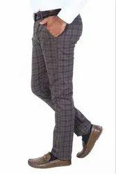 Grey Men's Check Cotton Pant