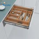 Adjustable Wood Cutlery Organizer Insert For Drawer Basket And Tandem Drawer