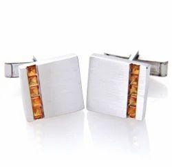 925 Sterling Silver Natural Citrine Mens Party Wear Shirts Gemstone Cufflinks