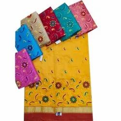Party Wear Cotton Embroidery Saree, 6.3 m (With Blouse Piece)