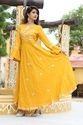 Yellow Full Sleeves Long Kurti
