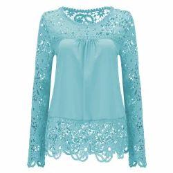 Cotton Round Neck Designer Ladies Top, Sky Blue