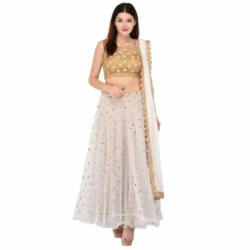 Wedding Stitched Bollywood Inspired Lehenga with Brocade Blouse, Size: XXL