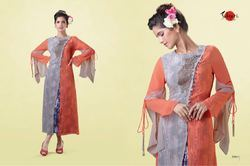 Mayra Georgette Round Neck Embroidered Kurti, Size: L