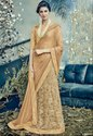 Beige and Tan Designer Lehenga Saree