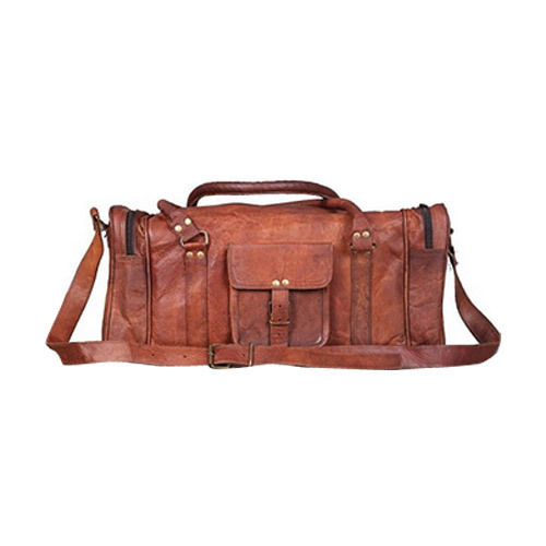 e323d6d7fd3a Goat Leather Brown Round Duffle Bags