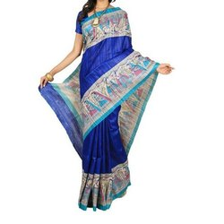 Printed Casual Wear Handprinted Tissue Linen Saree, 6.5 M, With Blouse Piece