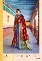 Party Wear Krystal Sona Chandi Sattin Patta Silk Saree