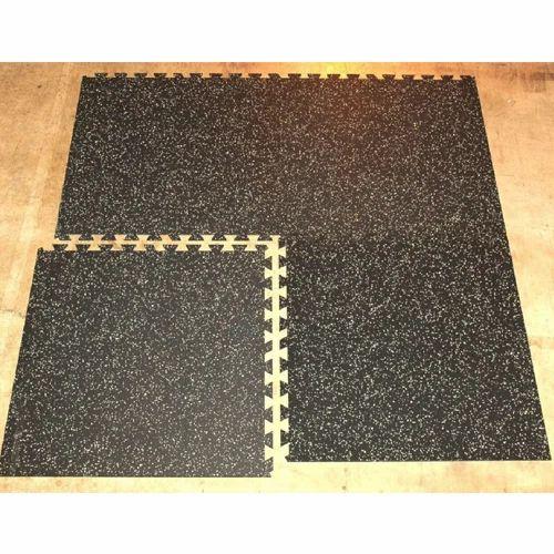 Black Gym Interlocking Rubber Floor Tiles 1 5 Mm 10