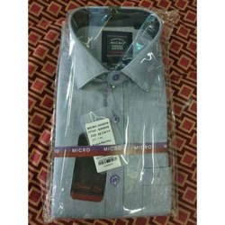 100 % Cotton Grey Birdeye Micro Mens Plain Shirt, Size: 42 cm