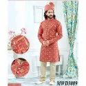Tomato Orange Jacquard Readymade IndoWestern