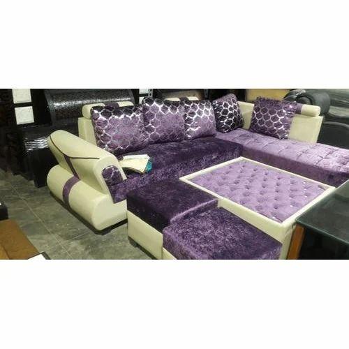 Purple And Cream Designer Velvet Sofa Set