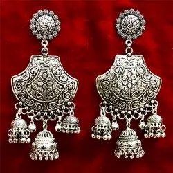 Oxidized Three Jhumka Earrings