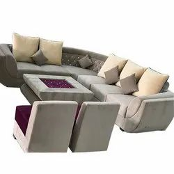 Suede Fabric 7 Seater L Shape Corner Sofa Set