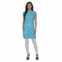 Lakhnawi Aari work embroidered medium length Georgette kurti with Crotchet half sleeves