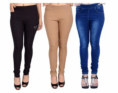 Ladies Plain And Printed Multicolor Jegging