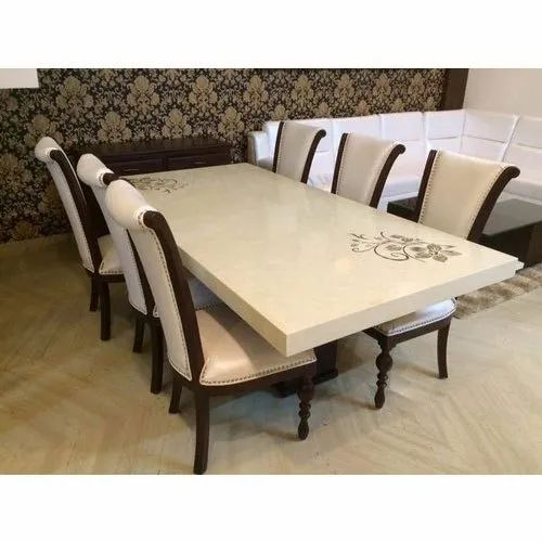 White Brown Modern 6 Seater Designer Wooden Dining Table Set Rs 39000 Set Id 21718997591