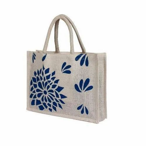Blue And White Designer Printed Jute Carry Bag f332e61ce1b27