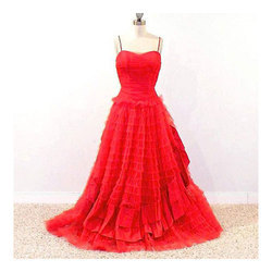 Red Cotton Kids Long Gown