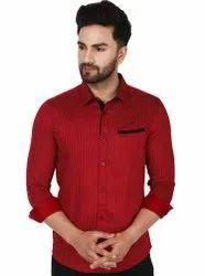 SKAVIJ Men's Polka Dot Cotton Slim Fit Contrast Inner Shirts
