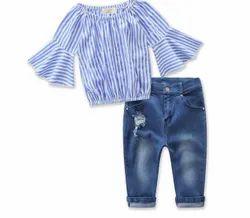 Cotton,Bottom Denim Casual Wear Kids Girl 2 Piece Set