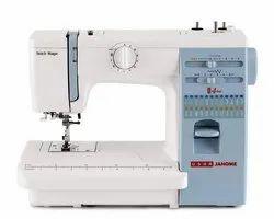 Electric Usha Janome Automatic Stitch Magic Sewing Machine (White And Blue)