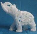 Marble Jaali Elephant Sculpture