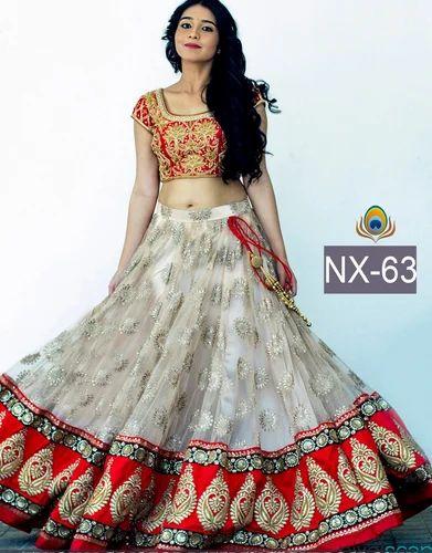 7306e34b4c89aa Lehenga Choli - White Designer Lehanga With Border Manufacturer from ...