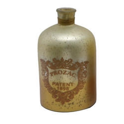 8ec4bb411 31x17.5 Cm Metal Look Glass Decorative Bottle