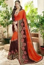 Tangerine and Oak Brown Embroidered Partywear Saree
