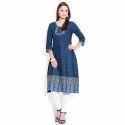 Blue Printed Indigo Cotton Ladies Kurti