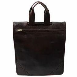 Dark Brown Men's Leather Handbag For Daily Use