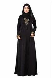 Women's Lycra Plain Abaya Burqa with Chiffon Hijab