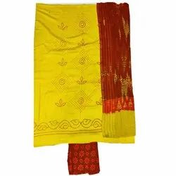 Lemon Yellow and Red Color Fancy Design Cotton Satin Bandhani Dress Material