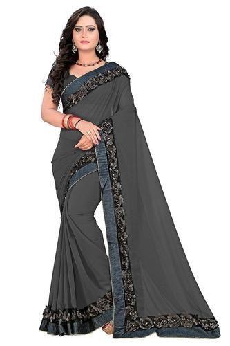 b5da427a Georgette Fancy Lace Saree With Blouse Piece, Length: 6.3 M, Rs 669 ...