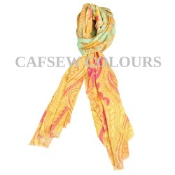 Yellow Printed Wool Scarves