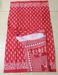 Block printed pure cotton saree