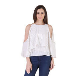 f6c301d310412 Medium And XL Dotted Ladies Cold Shoulder Top ...