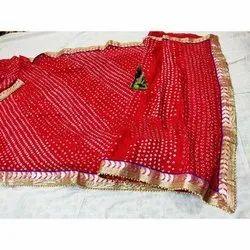 Red Bandhej Saree